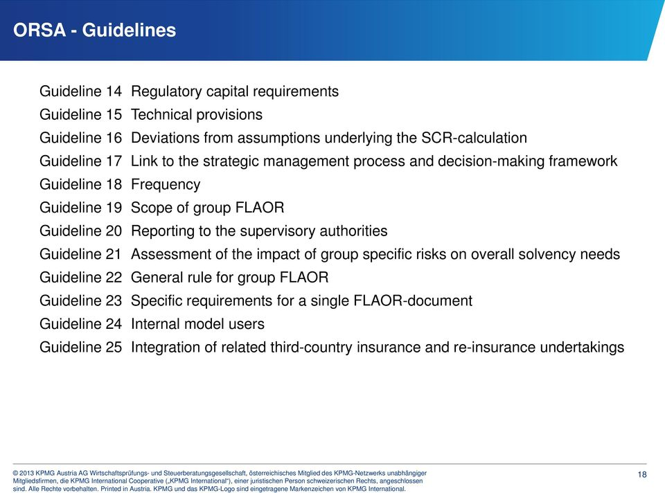 supervisory authorities Guideline 21 Assessment of the impact of group specific risks on overall solvency needs Guideline 22 General rule for group FLAOR Guideline 23