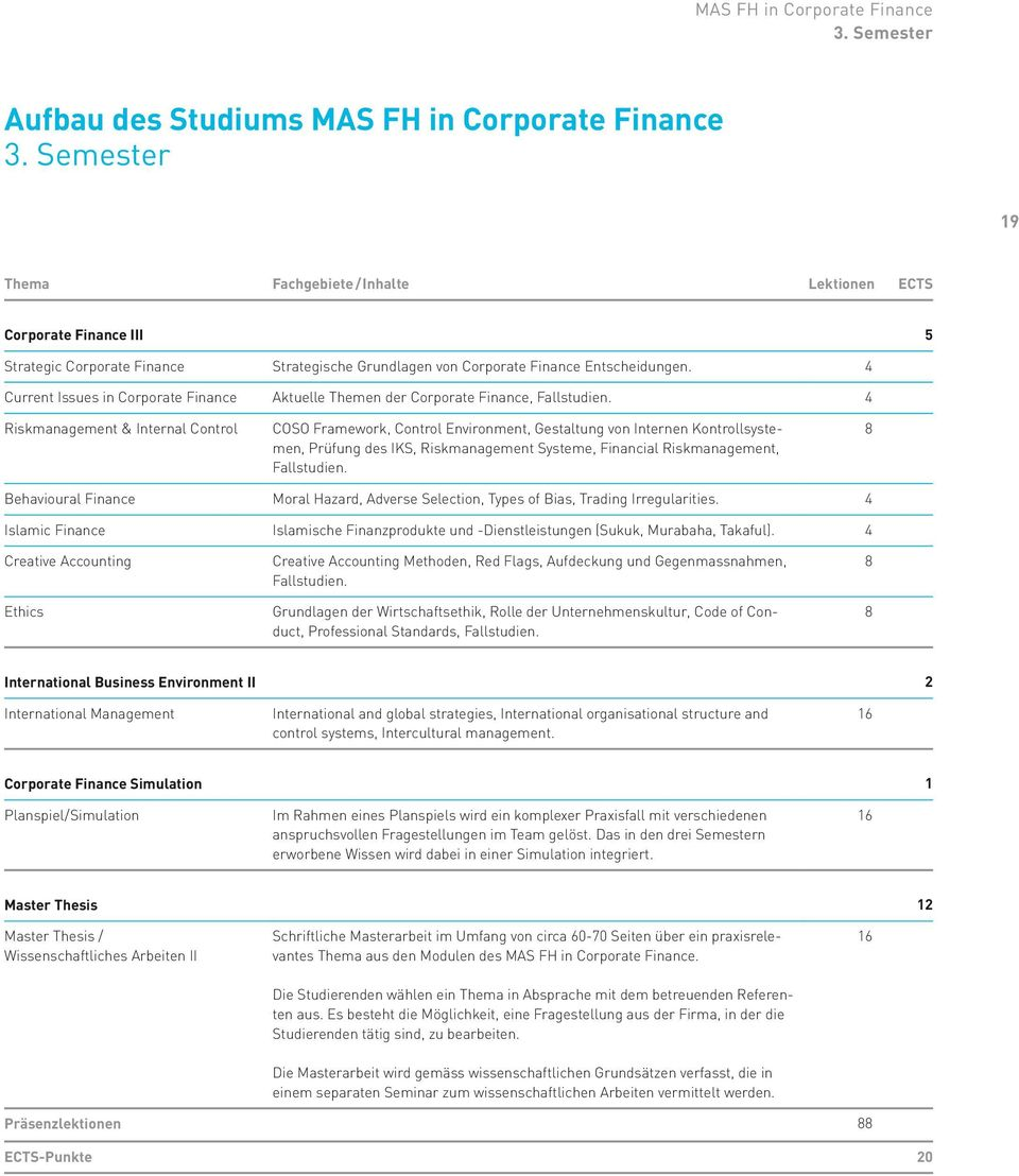 4 Current Issues in Corporate Finance Aktuelle Themen der Corporate Finance, Fallstudien.