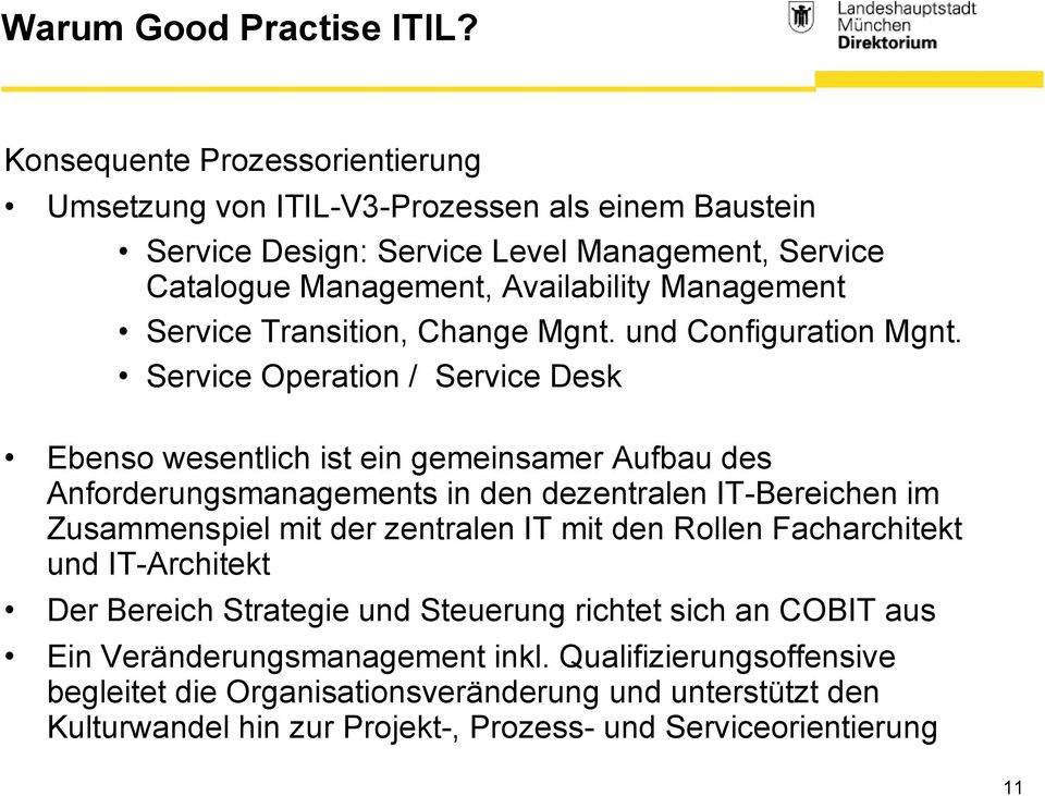 Service Transition, Change Mgnt. und Configuration Mgnt.