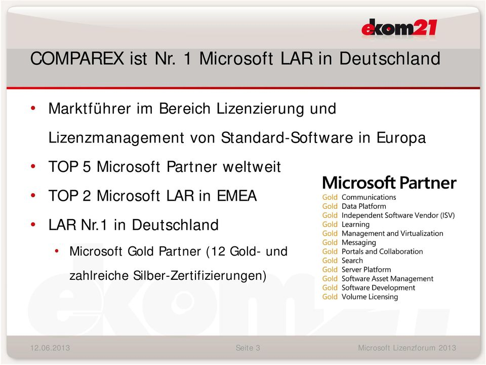 Lizenzmanagement von Standard-Software in Europa TOP 5 Microsoft Partner