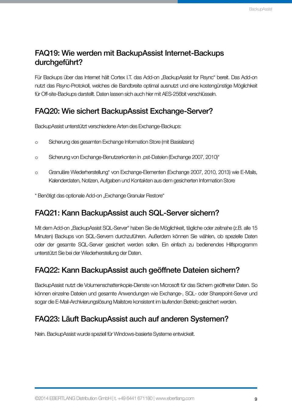FAQ20: Wie sichert BackupAssist Exchange-Server?