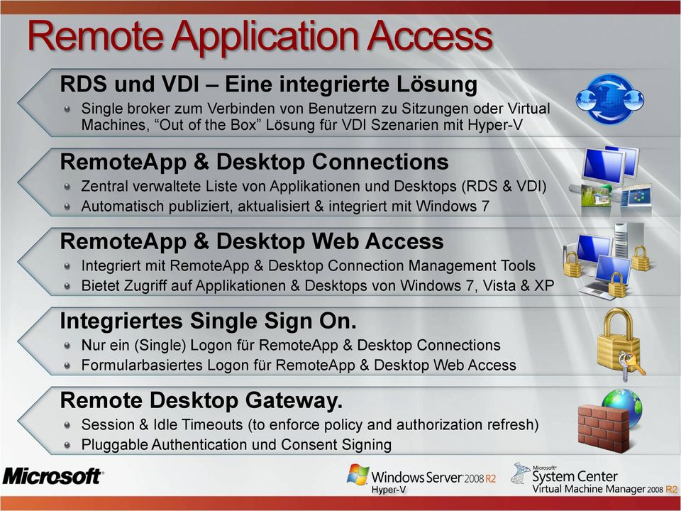 RemoteApp & Desktop Connection Management Tools Bietet Zugriff auf Applikationen & Desktops von Windows 7, Vista & XP Integriertes Single Sign On.
