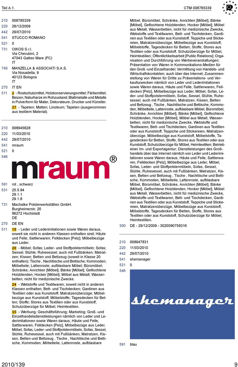 S.r.l. Via Cherubini, 2 4743 Gatteo Mare (FC) IT MANZELLA & ASSOCIATI S.A.S. Via Nosadella, 9 4123 Bologna IT IT EN 2 - Rostschutzmittel, Holzkonservierungsmittel; Färbemittel; Beizen; Naturharze im