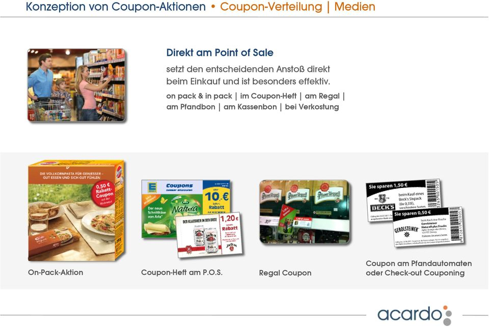 on pack & in pack im Coupon-Heft am Regal am Pfandbon am Kassenbon bei Verkostung