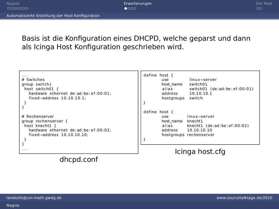 10.10.1; } } # Rechenserver group rechenserver { host knecht1 { hardware ethernet de:ad:be: ef :00:02; fixed address 10.10.10.10; } }... dhcpd.