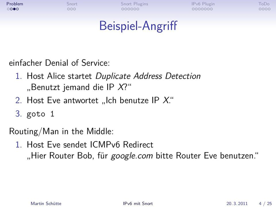 Host Eve antwortet Ich benutze IP X. 3. goto 1 Routing/Man in the Middle: 1.