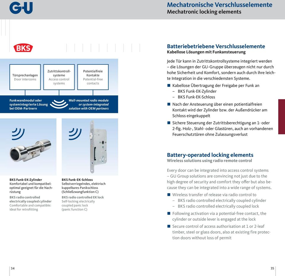 Potential-free contacts Wall-mounted radio module or system-integrated solution with OEM partners Jede Tür kann in Zutrittskontrollsysteme integriert werden die Lösungen der GU-Gruppe überzeugen