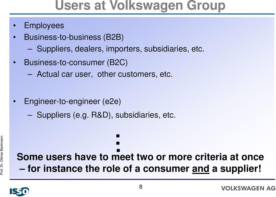 Business-to-consumer (B2C) Actual car user, other customers, etc.