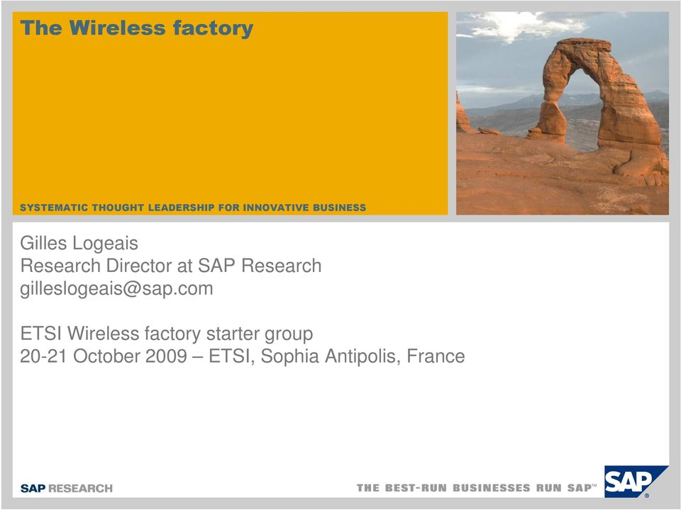 SAP Research gilleslogeais@sap.