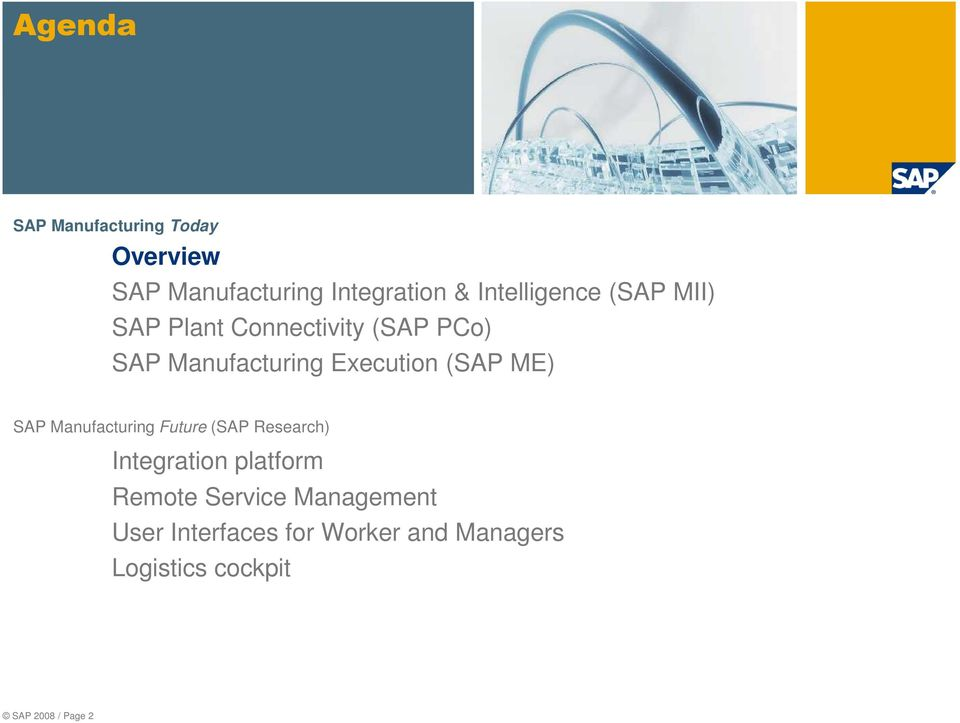Execution (SAP ME) SAP Manufacturing Future (SAP Research) Integration platform