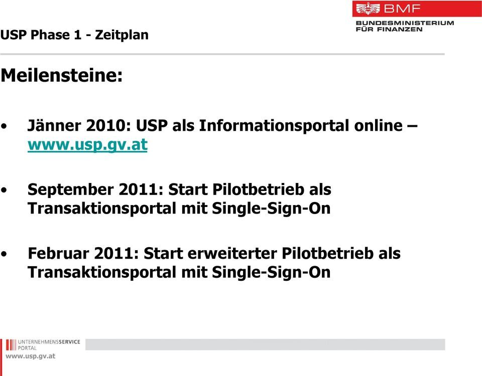 als Transaktionsportal mit Single-Sign-On Februar 2011: Start