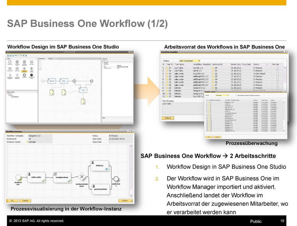 Workflow Design in SAP Business One Studio Prozessvisualisierung in der Workflow-Instanz 2.