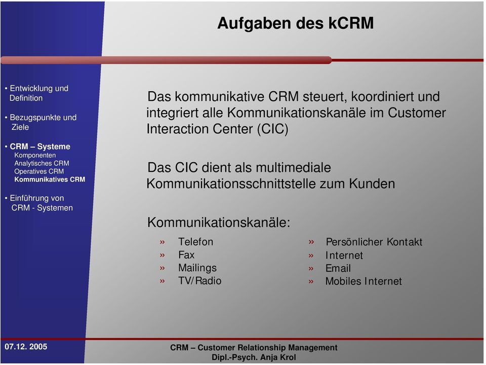 Interaction Center (CIC) Das CIC dient als multimediale Kommunikationsschnittstelle zum Kunden