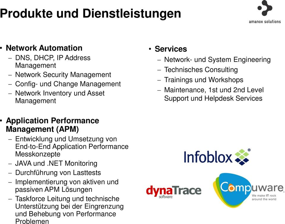 Services Application Performance Management (APM) Entwicklung und Umsetzung von End-to-End Application Performance Messkonzepte JAVA und.