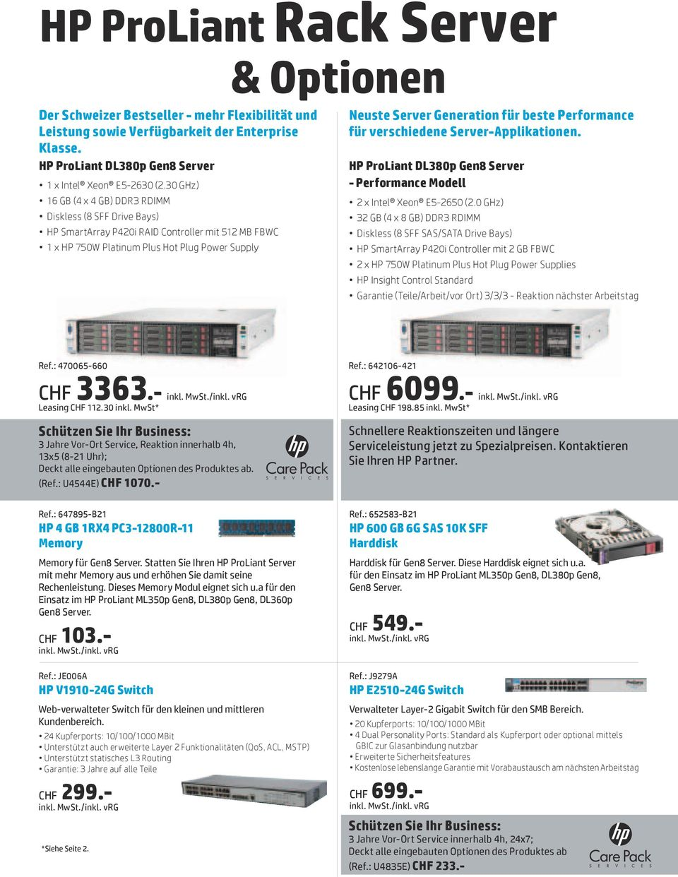 Performance für verschiedene Server-Applikationen. HP ProLiant DL380p Gen8 Server - Performance Modell 2 x Intel Xeon E5-2650 (2.