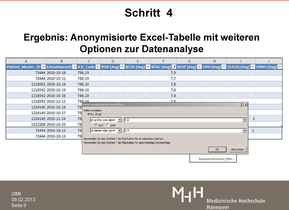 Excel-Tabelle mit
