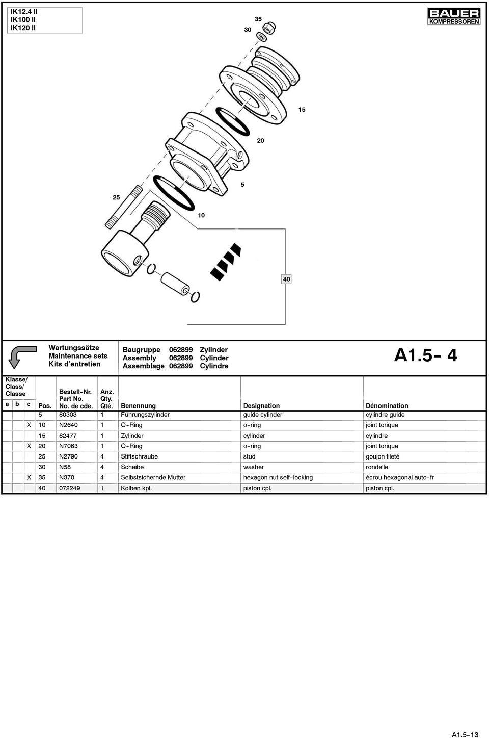 62477 1 Zylinder cylinder cylindre X 2 N763 1 O--Ring o--ring joint torique 25 N279 4 Stiftschraube stud goujon fileté N58 4