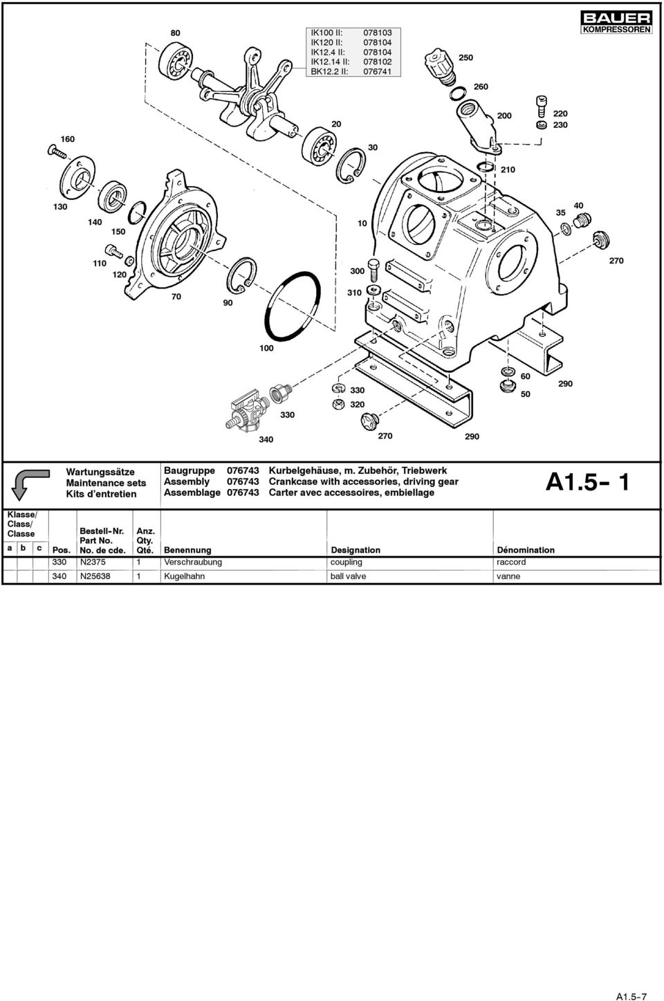 Kurbelgehäuse, m. Zubehör, Triebwerk Assembly 76743 Crankcase with accessories, driving gear A1.