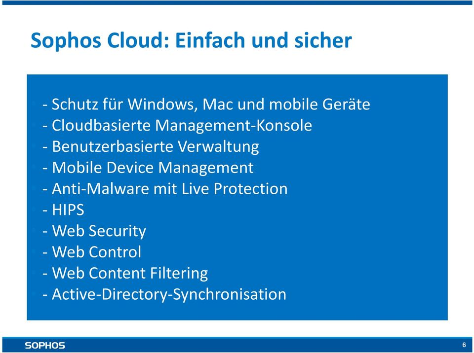 Mobile Device Management - Anti-Malware mit Live Protection -HIPS -Web