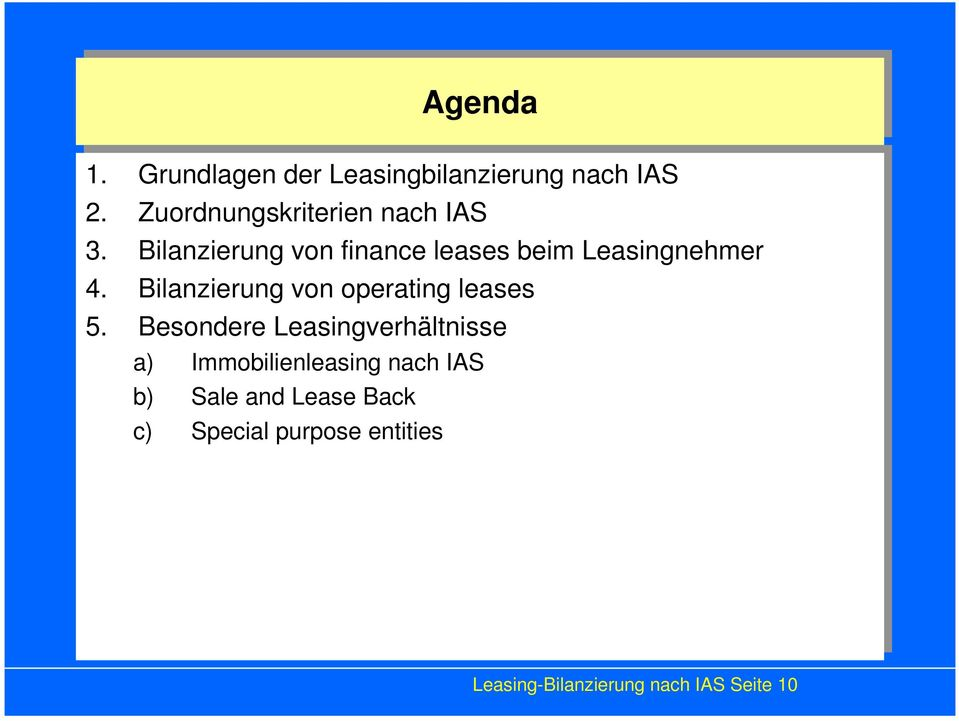 5. Besondere Leasingverhältnisse a) a) Immobilienleasing nach nach IAS IAS b) b) Sale Sale and and Lease