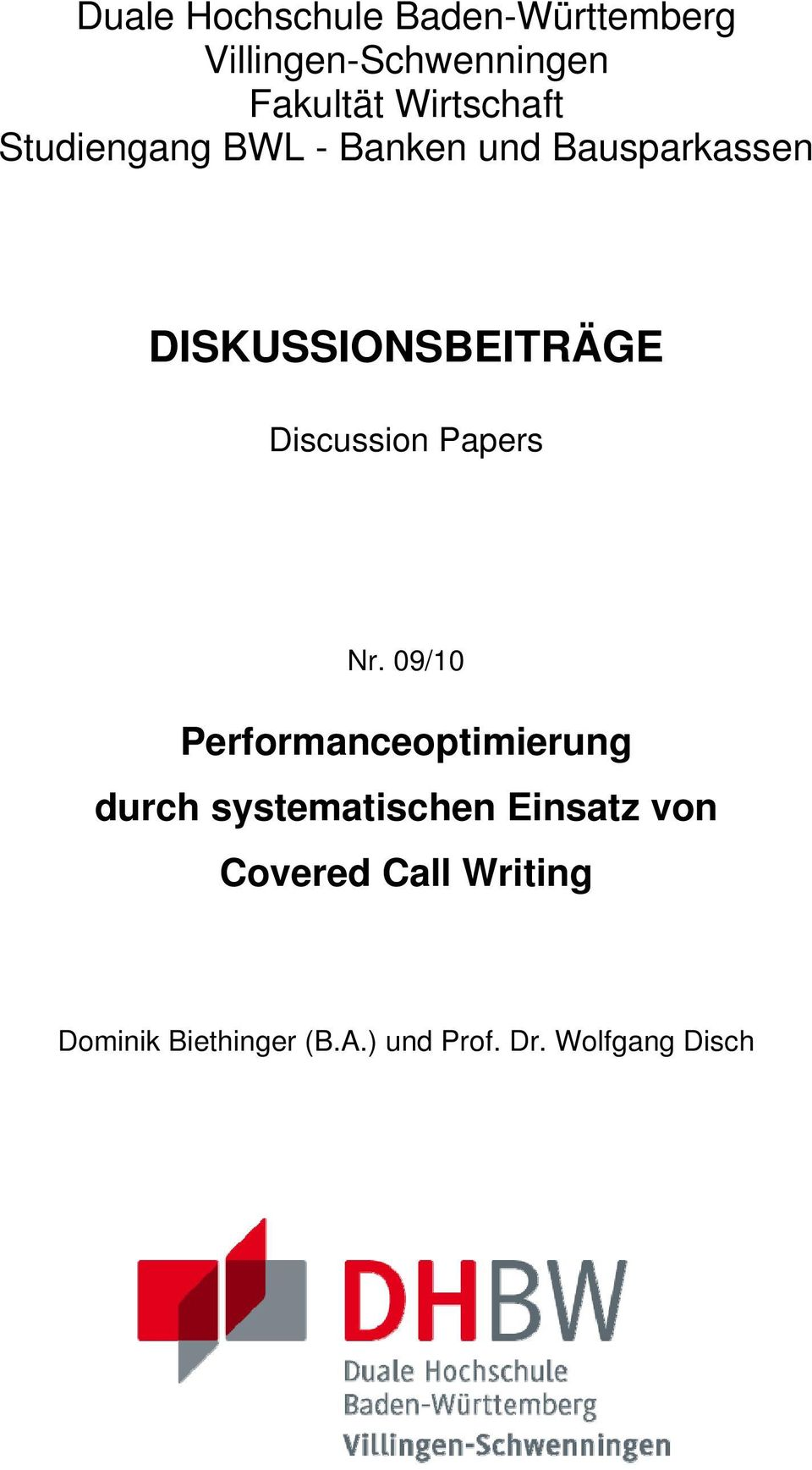 Discussion Papers Nr.