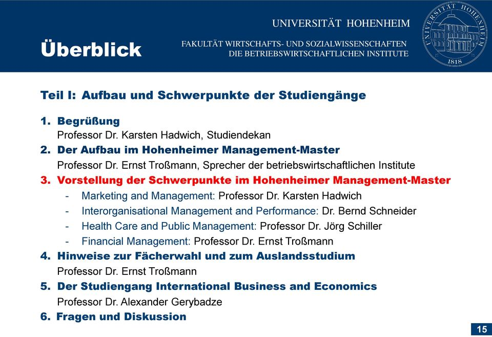 Karsten Hadwich - Interorganisational Management and Performance: Dr. Bernd Schneider - Health Care and Public Management: Professor Dr. Jörg Schiller - Financial Management: Professor Dr.