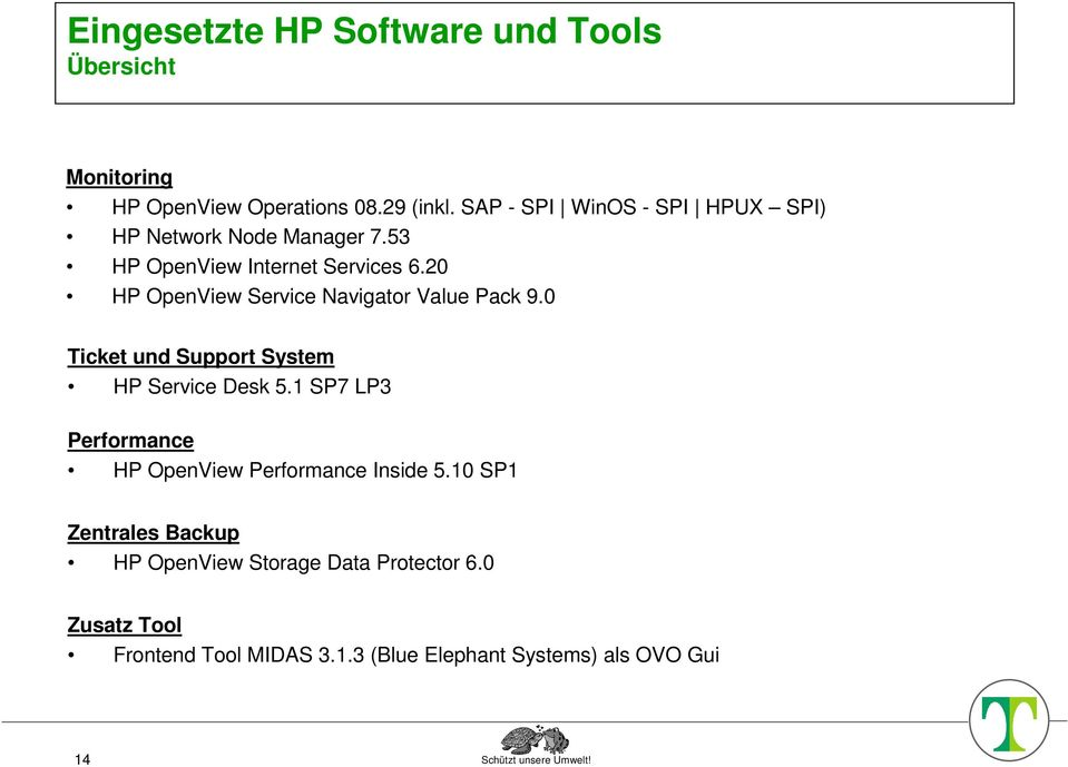 20 HP OpenView Service Navigator Value Pack 9.0 Ticket und Support System HP Service Desk 5.