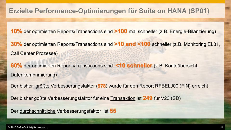 Monitoring EL31, Call Center Prozesse) 60% der optimierten Reports/Transactions sind <10 schneller (z.b.