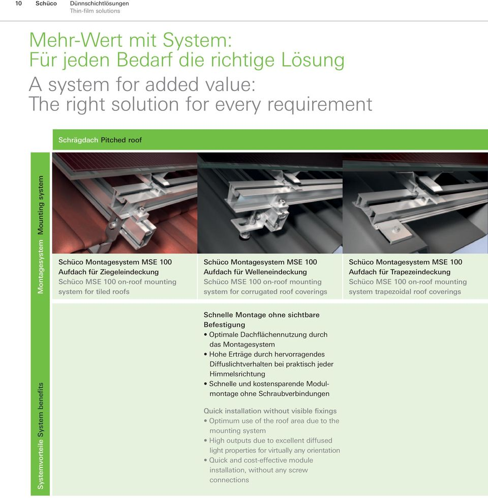 Welleneindeckung Schüco MSE 100 on-roof mounting system for corrugated roof coverings Schüco Montagesystem MSE 100 Aufdach für Trapezeindeckung Schüco MSE 100 on-roof mounting system trapezoidal roof