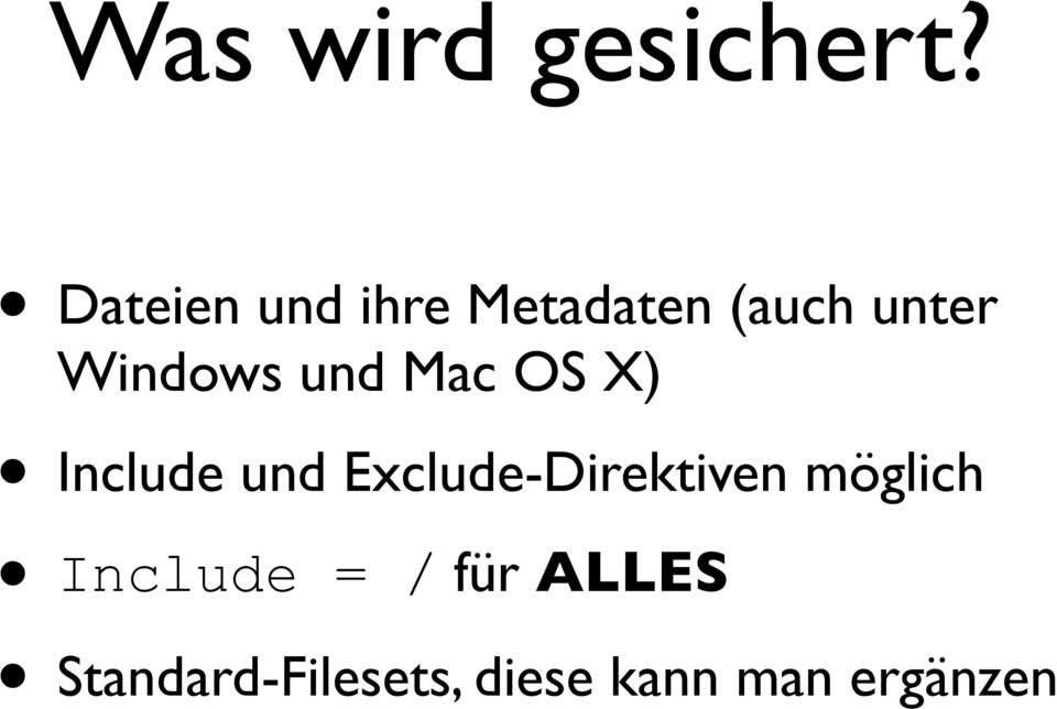 Windows und Mac OS X) Include und