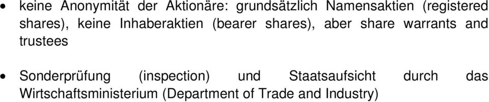 share warrants and trustees Sonderprüfung (inspection) und