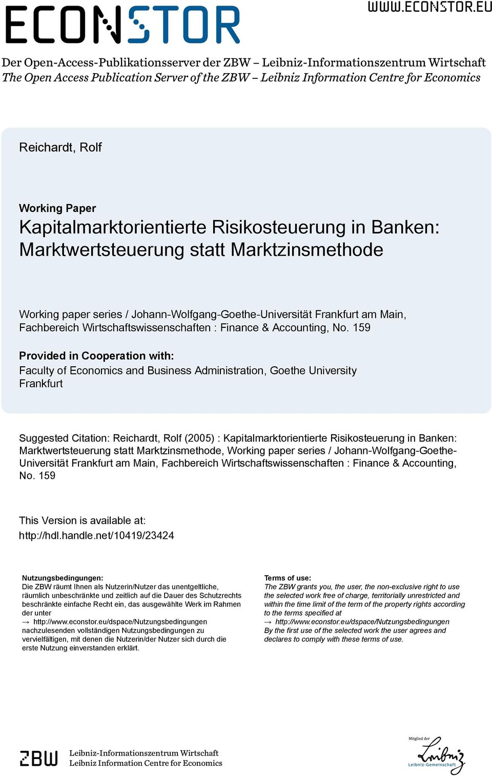 eu Der Open-Access-Publikaionsserver der ZBW Leibniz-Informaionszenrum Wirschaf he Open Access Publicaion Server of he ZBW Leibniz Informaion Cenre for Economics Reichard, Rolf Working Paper