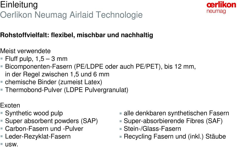 Thermobond-Pulver (LDPE Pulvergranulat) Exoten Synthetic wood pulp Super absorbent powders (SAP) Carbon-Fasern und -Pulver