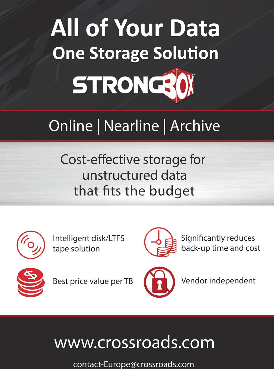 Intelligent disk/ltfs tape solution Significantly reduces back-up time and