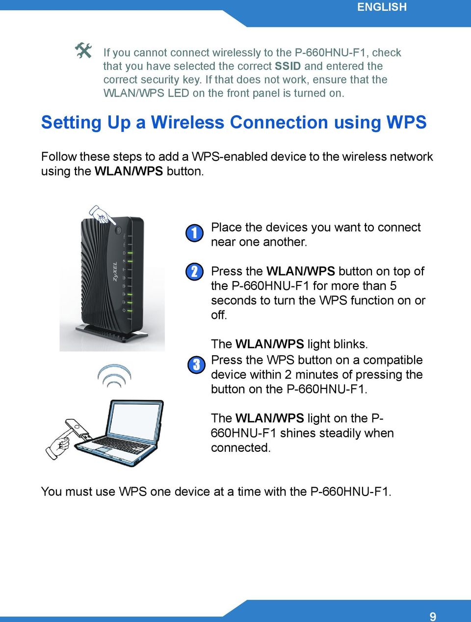 Setting Up a Wireless Connection using WPS Follow these steps to add a WPS-enabled device to the wireless network using the WLAN/WPS button.