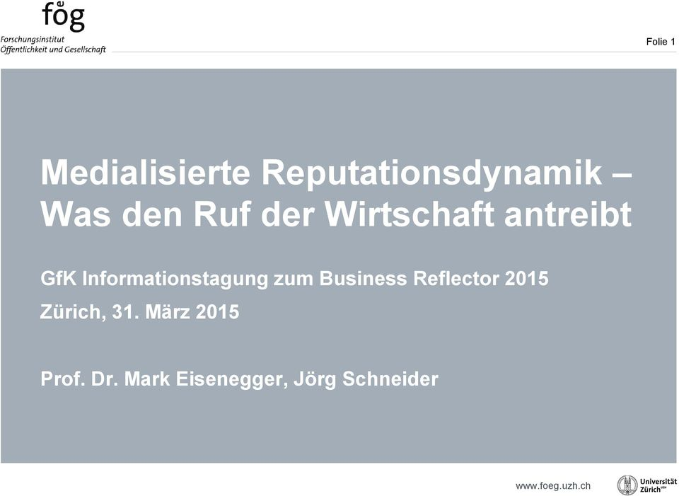 Informationstagung zum Business Reflector 2015