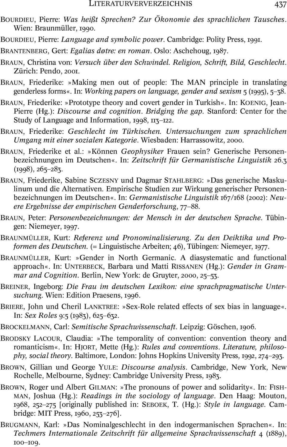 Zürich: Pendo, 2001. BRAUN, Friederike:»Making men out of people: The MAN principle in translating genderless forms«. In: Working papers on language, gender and sexism 5 (1995), 5 38.