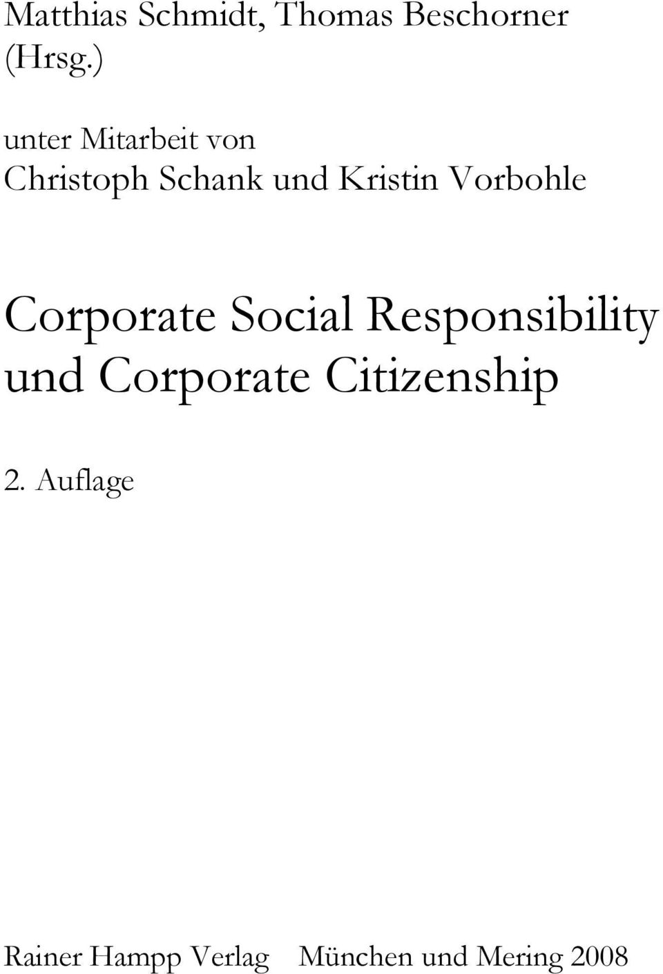 Vorbohle Corporate Social Responsibility und