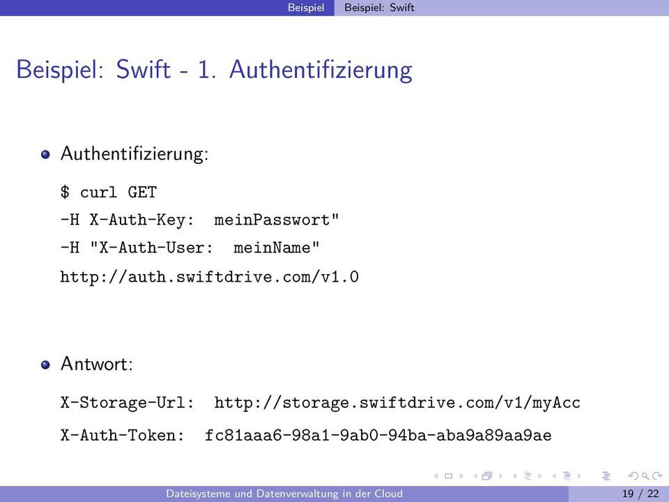 """X-Auth-User: meinname"" http://auth.swiftdrive.com/v1."