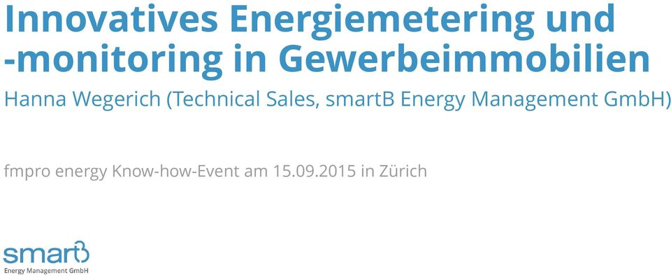 (Technical Sales, smartb Energy Management