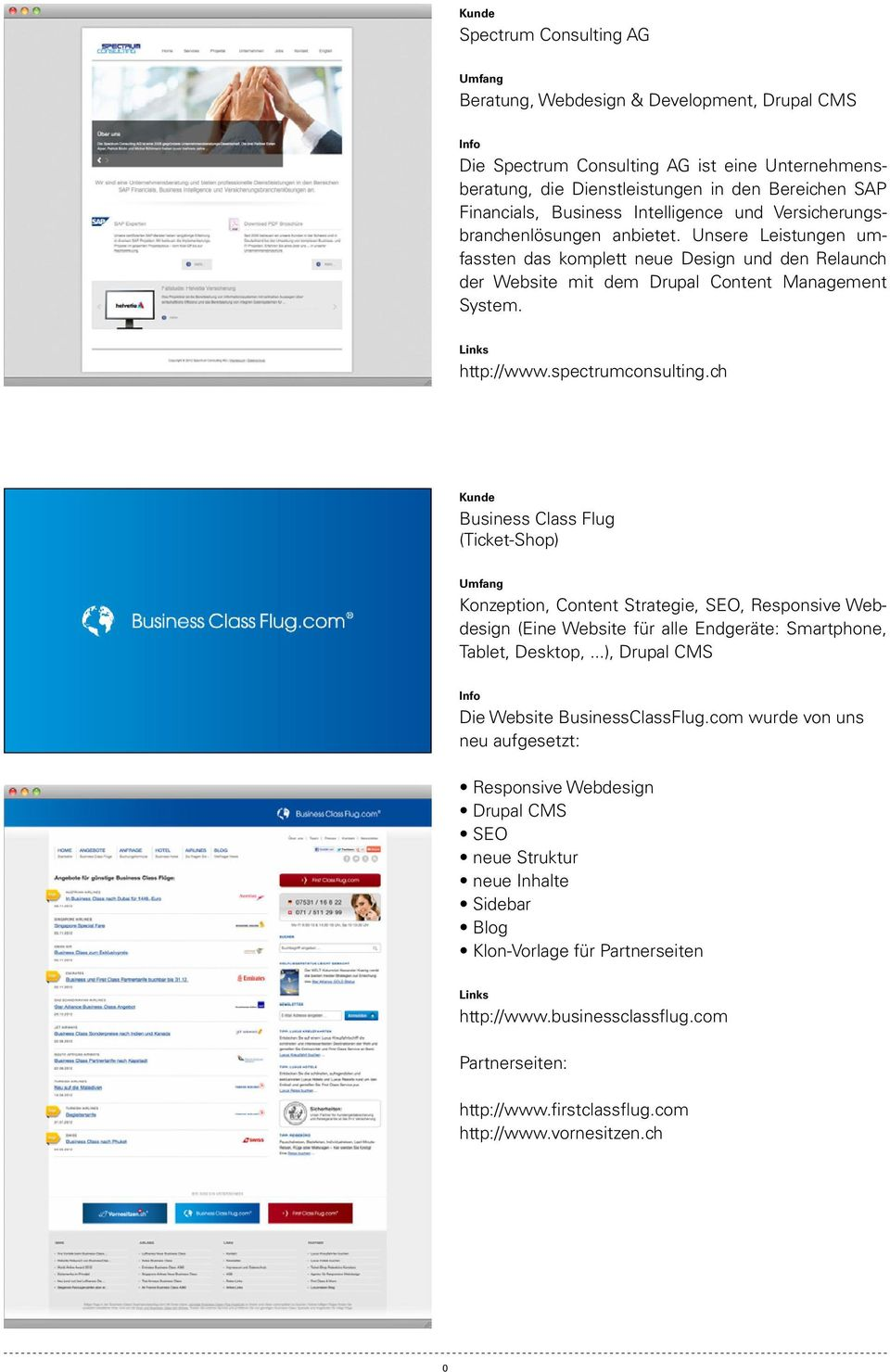 spectrumconsulting.ch Kunde Business Class Flug (Ticket-Shop) Konzeption, Content Strategie, SEO, Responsive Webdesign (Eine Website für alle Endgeräte: Smartphone, Tablet, Desktop,.