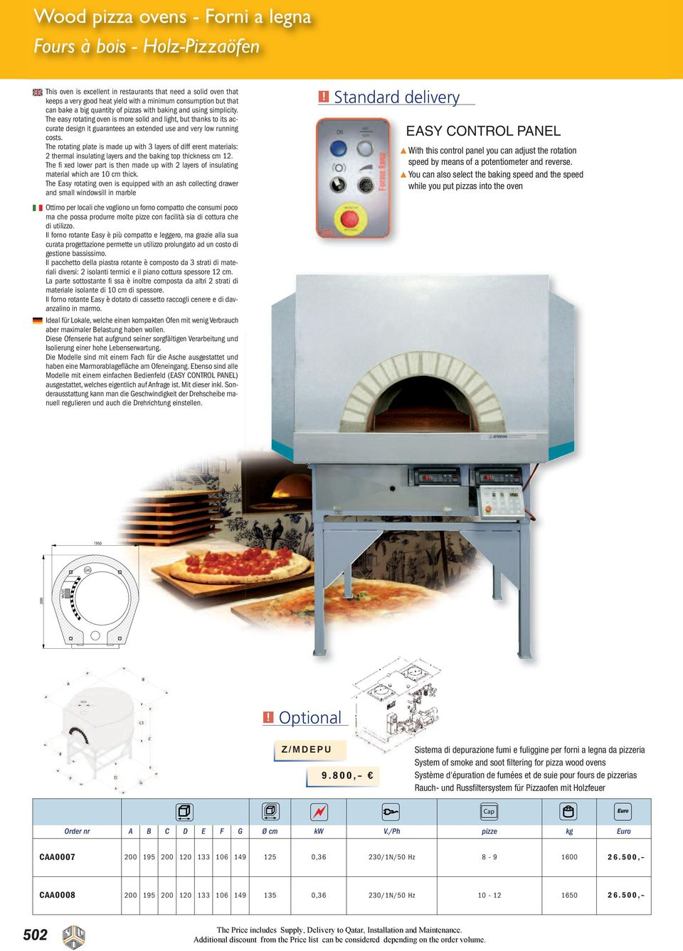 The easy rotating oven is more solid and light, but thanks to its accurate design it guarantees an extended use and very low running costs.
