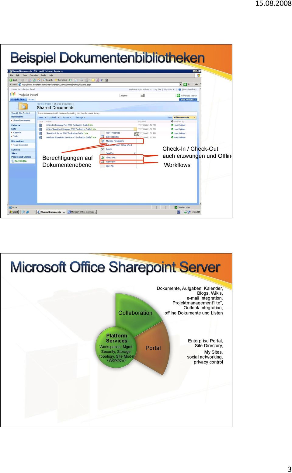 Outlook Integration, offline Dokumente und Listen Platform Services Workspaces, Mgmt, Security, Storage,