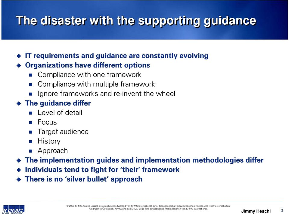 wheel The guidance differ Level of detail Focus Target audience History Approach The implementation guides and