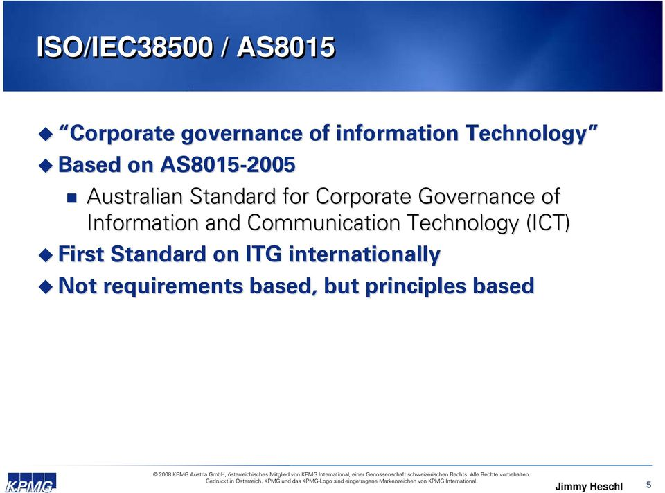 Information and Communication Technology (ICT) First Standard on ITG
