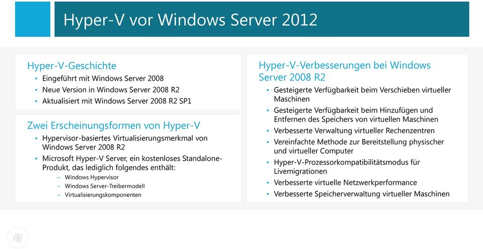 Windows Server-Treibermodell Virtualisierungskomponenten Hyper-V-Verbesserungen bei Windows Server 2008 R2 Gesteigerte Verfügbarkeit beim Verschieben virtueller Maschinen Gesteigerte Verfügbarkeit