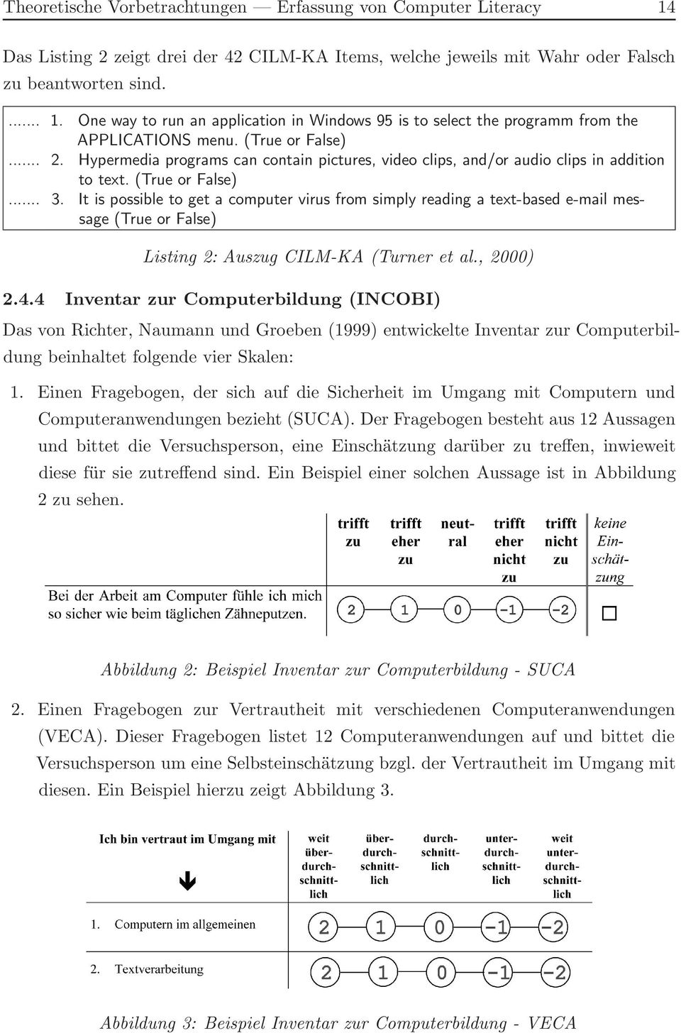It is possible to get a computer virus from simply reading a text-based e-mail message (True or False) Listing 2: Auszug CILM-KA (Turner et al., 2000) 2.4.
