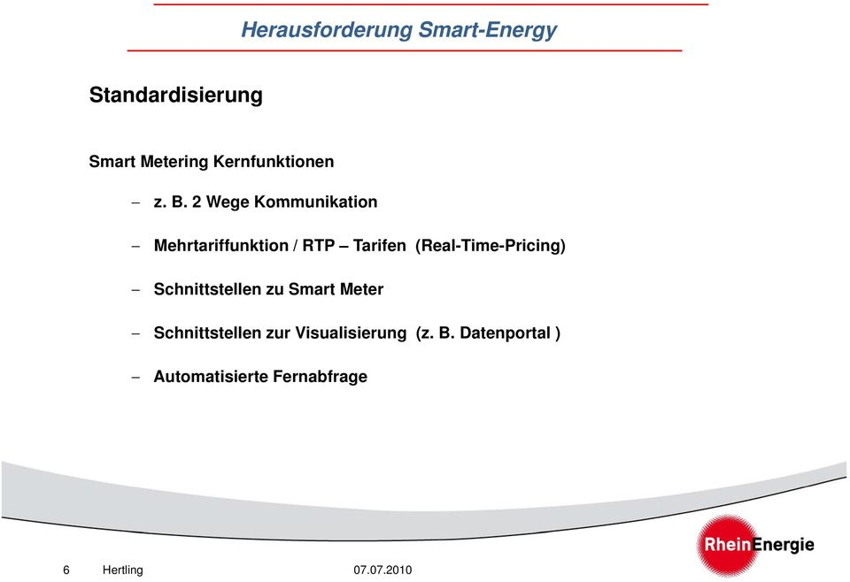 (Real-Time-Pricing) Schnittstellen zu Smart Meter