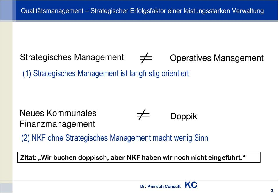 Finanzmanagement Doppik (2) NKF ohne Strategisches Management macht