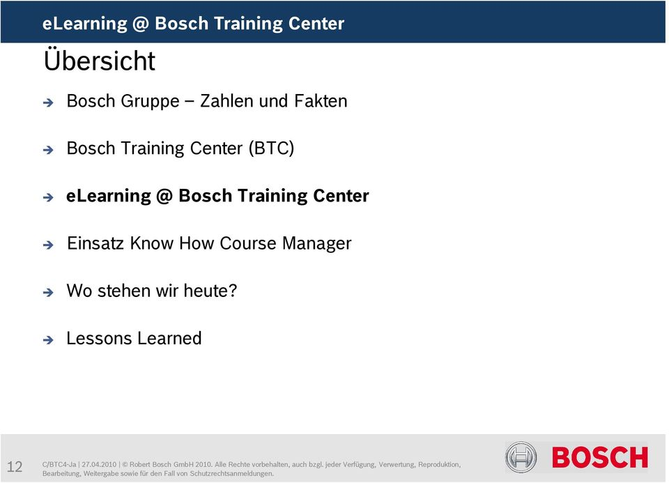 Training Center (BTC) elearning @ Bosch Training Center